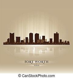 cidade, silueta, skyline, valor, texas, forte