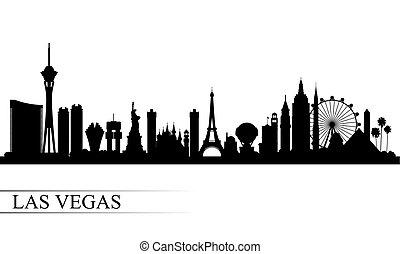 cidade, silueta, skyline, vegas, fundo, las