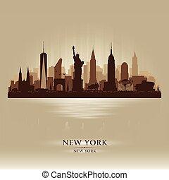 cidade, silueta, skyline, vetorial, york, novo