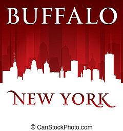 cidade, silueta, skyline, york, fundo, novo, búfalo, vermelho
