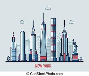 cidade, silueta, skyline, york, vector., novo