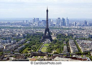 cidade, skyline, em, daytime., paris, france., levado, de,...