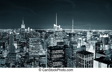 cidade,  Skyline,  York, noturna, Novo,  Manhattan