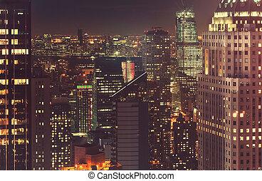 cidade,  Skyline,  York, Novo, noturna