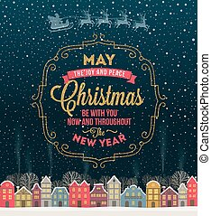 cidade, snowbound, inverno, ouro, tipo, quadro, -, saudação, desenho, brilhar, cartão natal