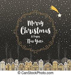 cidade, snowbound, inverno, ouro, tipo, quadro, -, saudação, desenho, caligrafia, brilhar, cartão natal