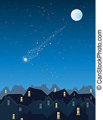 cidade, sobre, estrela cadente