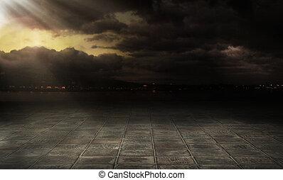 cidade, sobre, nuvens, tempestuoso