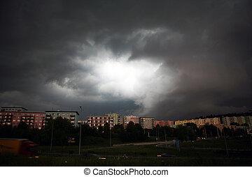 cidade, sobre, tempestade