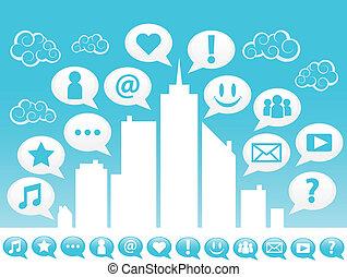 cidade, social, icons., mídia