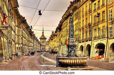 cidade, switze, -, local, rua, UNESCO, antigas, Berna,...