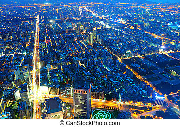 cidade,  taïpei, noturna