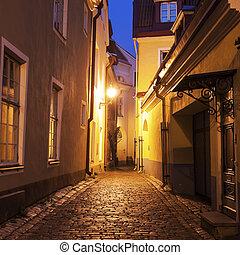 cidade, tallin, ruas, antigas