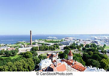 cidade, (tallinn, antigas, estonia=