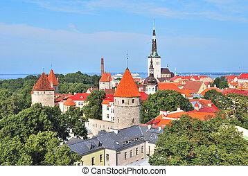 cidade, tallinn, antigas, estonia.
