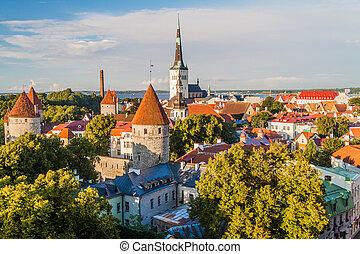 cidade, tallinn, antigas, skyline, eston