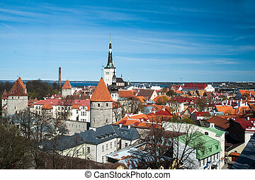 cidade, tallinn, antigas, vista., estónia