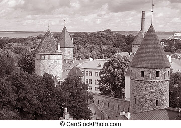 cidade, tallinn, estónia, paredes