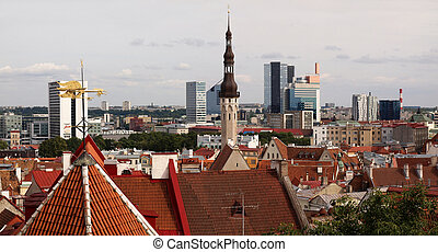 cidade, tallinn, vista