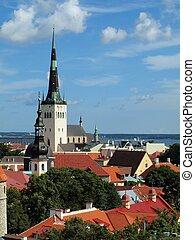 cidade, top-view, antigas, tallinn