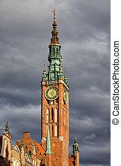 cidade, torre,  Gdansk, corredor, relógio