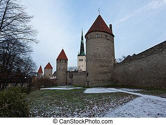 cidade, torres, parede, tallinn, quatro