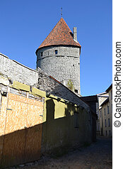 cidade, torres, tallinn, parede