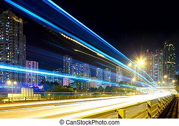 cidade, tráfego, noturna