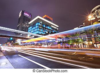 cidade, tráfego,  taïpei, noturna