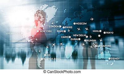 cidade, transporte, negócio, abstratos, global, map., nomes, fundo, aviões, aviação, concept., viagem