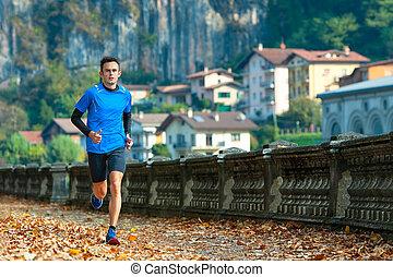 cidade, treinamento, corredor, sessão, cross-country, durante, high-level