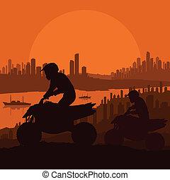 cidade, tudo, motocicleta, terreno, ilustração, vetorial, arranha-céu, fundo, veículo, cavaleiros, paisagem