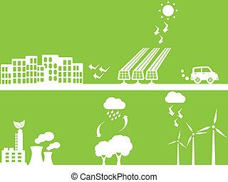 cidade, usando, energia renovável