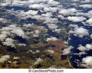 cidade, vôo, sobre, suécia, nuvens, brosarp, branca