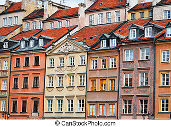 cidade, varsóvia, polônia, arquitetura velha