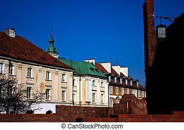 cidade velha, arquitetura, em, varsóvia, polônia