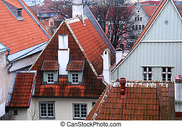 cidade velha, casas, em, tallinn