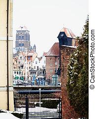 cidade velha, de, gdansk, e, a, guindaste
