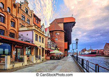 cidade velha, de, gdansk, polônia, ligado, amanhecer