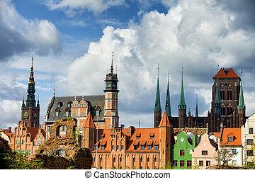 cidade velha, de, gdansk, skyline