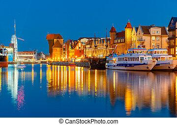cidade velha, e, motlawa, rio, em, gdansk, polônia