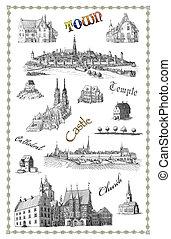 cidade velha, ilustração