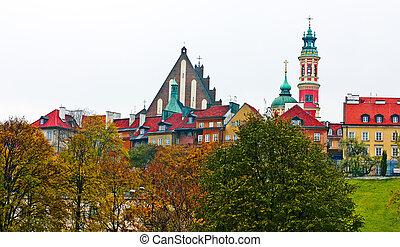 cidade velha, -, varsóvia, poland., unesco, mundo, herança, local