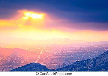 cidade, verão, luz, sobre, céu, pôr do sol