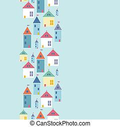 cidade, vertical, padrão, seamless, casas, fundo, borda