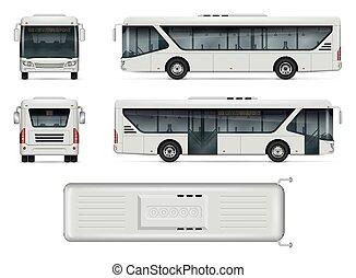 cidade, vetorial, autocarro, mockup