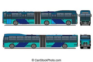 cidade, vetorial, autocarro