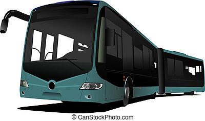 cidade, vetorial, bus., ilustração, dobro