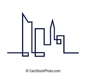 cidade, vetorial, ilustração, silhouette.