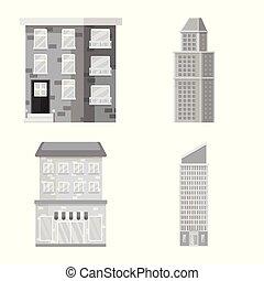 cidade, vetorial, jogo, centro, construção, desenho, icon., estoque, illustration.